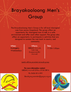 Brayakooloong Mens Group @ Brayakooloong Wellbeing Centre (GEGAC)